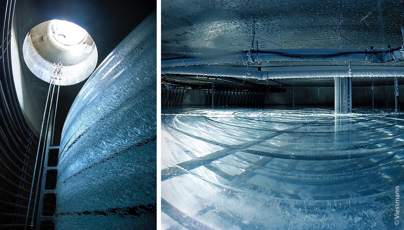 Links: Blick vom unterirdisch eingebrachten Eisspeicherboden nach oben zum Revisionsschacht, den man per Leiter erklimmen kann. Rechts daneben ruht der Eisblock, der ein Wasservolumen von 242 Kubikmetern besitzt und für den Wärmeaustausch genutzt wird.