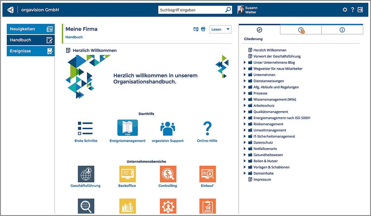 Auf der Startseite der Software ist alles an einem Ort: von Arbeitsschutz über Energiemanagement bis Datenschutz, von IT-Sicherheit bis Notfallszenarien. Und mit einer cloud-basierten Softwarelösung kann man von überall und zu jeder Zeit sicher auf das Handbuch zugreifen.