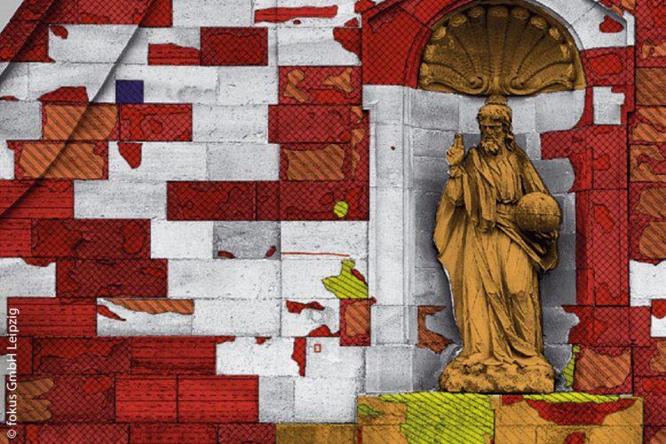 Detail aus dem digitalen Bildplan der Westfassade der Wallfahrtskirche in Ipthausen: die Kartierung wurde von Hendrik Romstedt (Kirchheim, Thüringen) vorgenommen.