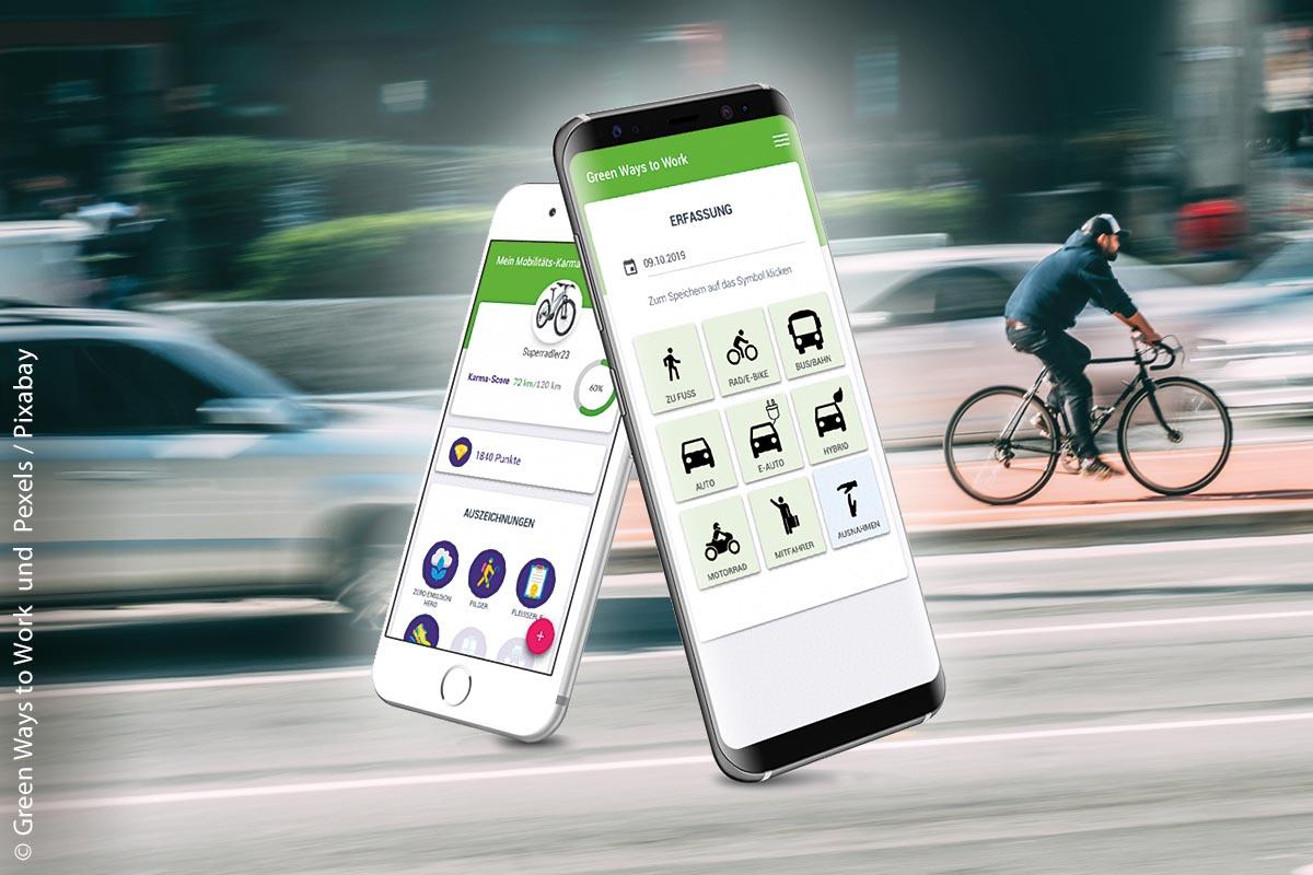 """Der Wettbewerb """"Green Ways to Work"""" erfasst App-gestützt den Anteil der Mitarbeiter, die mit """"grünen"""" Verkehrsmitteln zur Arbeit kommen."""