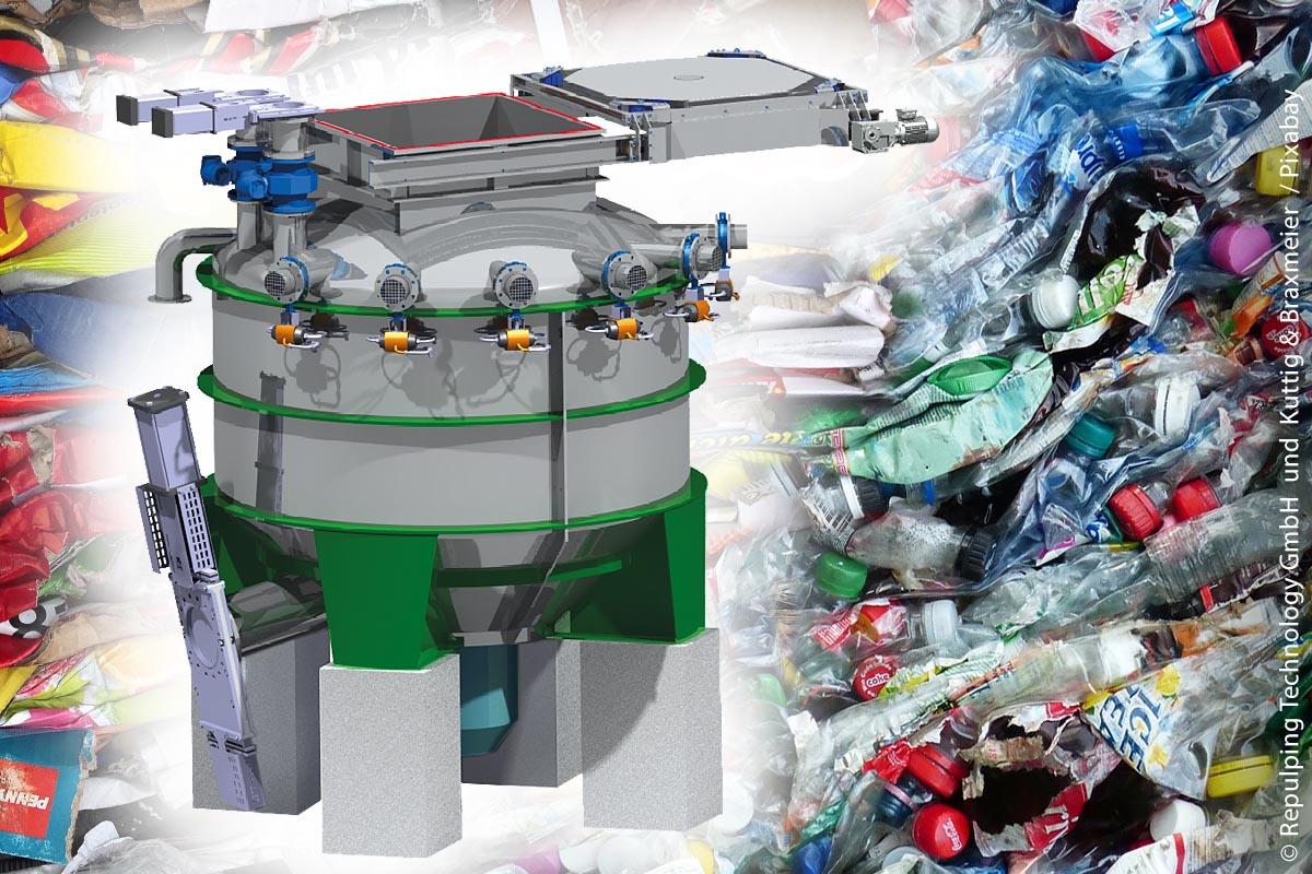 Repulping Technology:  Im Rejektkavitationsstofflöser RKSL 10 werden schwer auflösbare Papiersorten und Verbundmaterialien von Verpackungen so aufbereitet, dass sich die Verbundstoffe voneinander trennen.