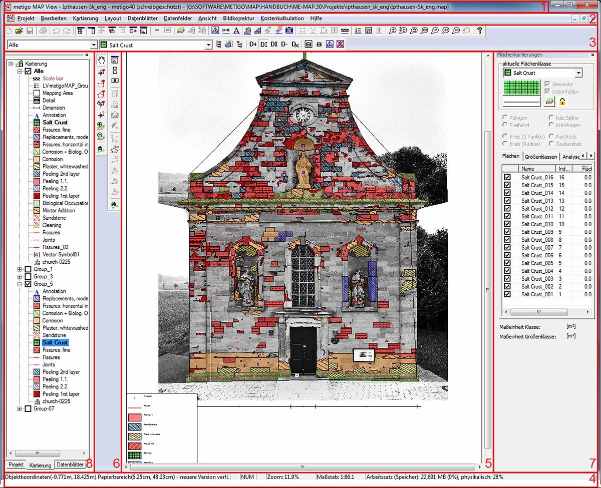 Bereiche der graphischen Benutzeroberfläche der Software Metigo MAP
