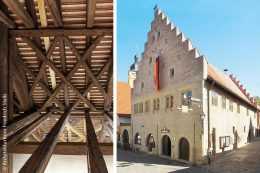 Von Oktober 2013 bis März 2015 wurde das Rathaus in Markt Sommerhausen bei Würzburg komplett saniert – auch der Dachstuhl. Die Spitzbogenarkaden an der Straßenfront beherbergen heute das Verkehrsbüro. Früher waren sie Verkaufsräume, bevor sie schließlich zugemauert wurden.