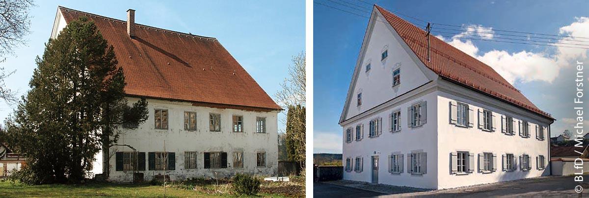 Der historische Pfarrhof vor und nach seiner Sanierung