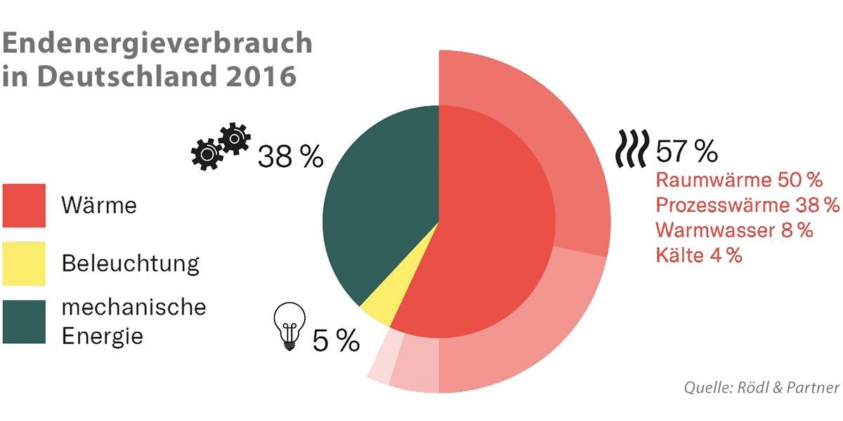 Der Endenergieverbrauch in Deutschland belief sich 2016 – je nach Sektor – auf 2.542 TWh. Mehr als die Hälfte davon (57 %) wurde für die Erzeugung von Wärme genutzt, die zu unterschiedlichen Anteilen als Raumwärme (50%), Prozesswärme (38%), Warmwasser (8%) und Kälte (4%) benötigt wurde. Mehr als ein Drittel (38 %) der Energie wurde mechanisch verwendet und nur 5 % für Beleuchtungen.
