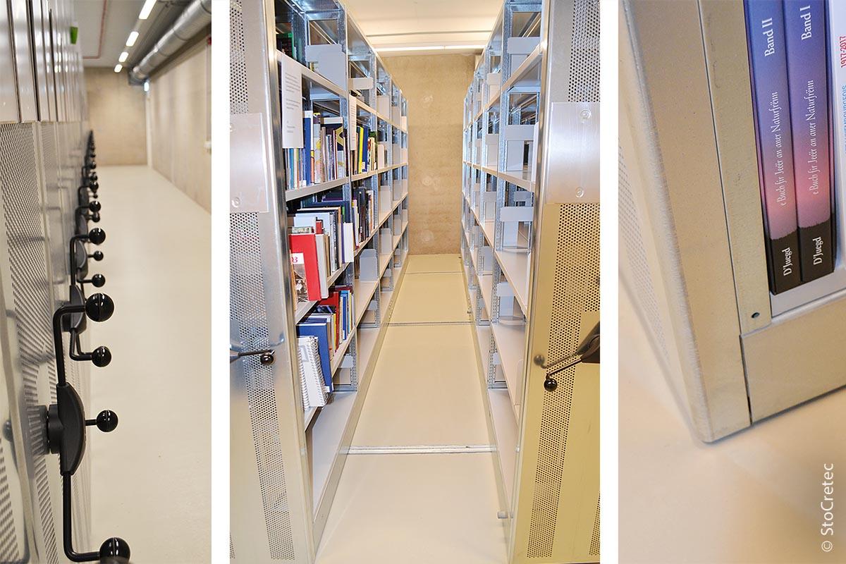Die Böden der Magazine, etwa 15.000 Quadratmeter, wurden mit einem zweimaligen Auftrag von Sto Pox MS 200 versiegelt.