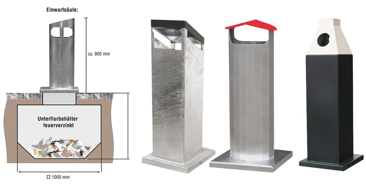 Die oberirdischen Einwurfsäulen des GeoTainer-Modells GTM sind im individuellen Design erhältlich und können unterirdisch entweder 0,6 oder 1,5 Kubikmeter Müll beherbergen.