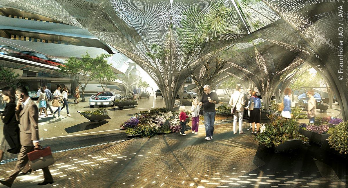 Klimaaktive Architektur schafft Aufenthaltsqualität im öffentlichen Raum.