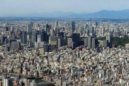 Stadt, so weit das Auge reicht: Im Hintergrund von Japans Hauptstadt ist der etwa 3776 Meter hohe Fuji zu sehen, das wohl bekannteste Wahrzeichen Japans.