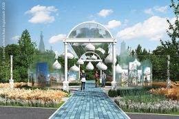 Eine der kleinen Partnerstadt-Gärten ist das von Moskau.