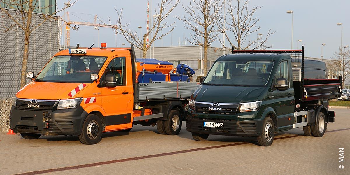 MAN bietet mit dem TGE Fahrzeuge von 3 bis 5,5 Tonnen für Kommunalbetriebe und die Entsorgungswirtschaft an.