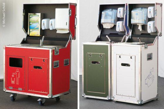 Ein Desi-Case ist ein – meist mobiler – Desinfektionswagen. Je nach Anforderungen, Wünschen und Teilnehmerzahl ist er in unterschiedlichen Größen und Ausführungen erhältlich.
