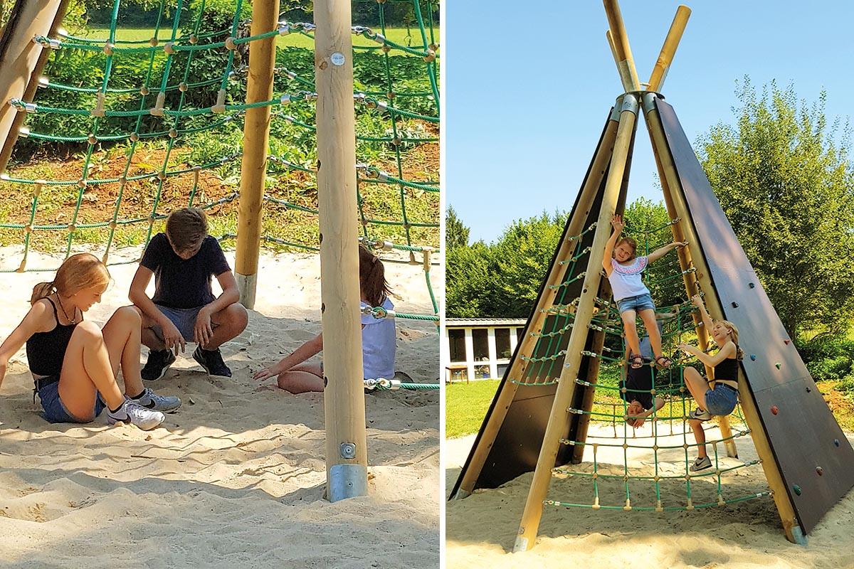 Ob klettern oder entspannen, das Tipi von Spogg bietet bewegungsfreudigen Kindern beides.