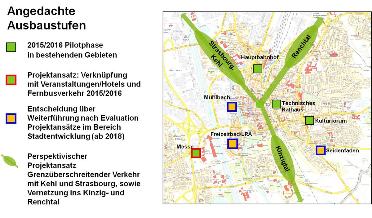 """Nach erfolgreicher Entwicklung der ersten vier Mobilitätsstationen unter der Marke """"Einfach mobil"""" hat der Offenburger Gemeinderat beschlossen, das Projekt sowohl im Stadtgebiet als auch in die Region hinaus auszudehnen."""