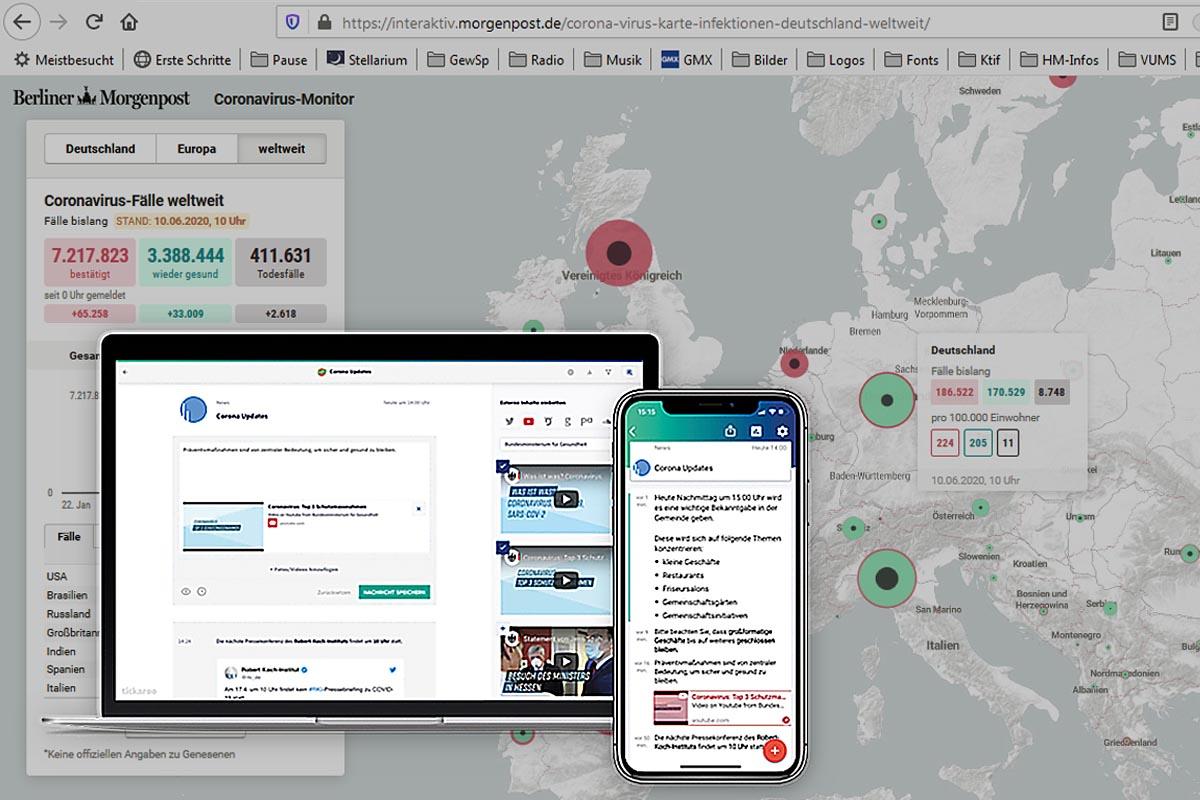 Die Liveblogs können per Desktop-PC und Smartphone mit neuen News-Updates aktualisiert werden.