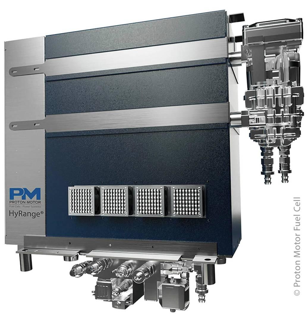 Der Brennstoffzellen-HyRange-Extender für batterie-elektrisch angetriebene Nutzfahrzeuge und Busse