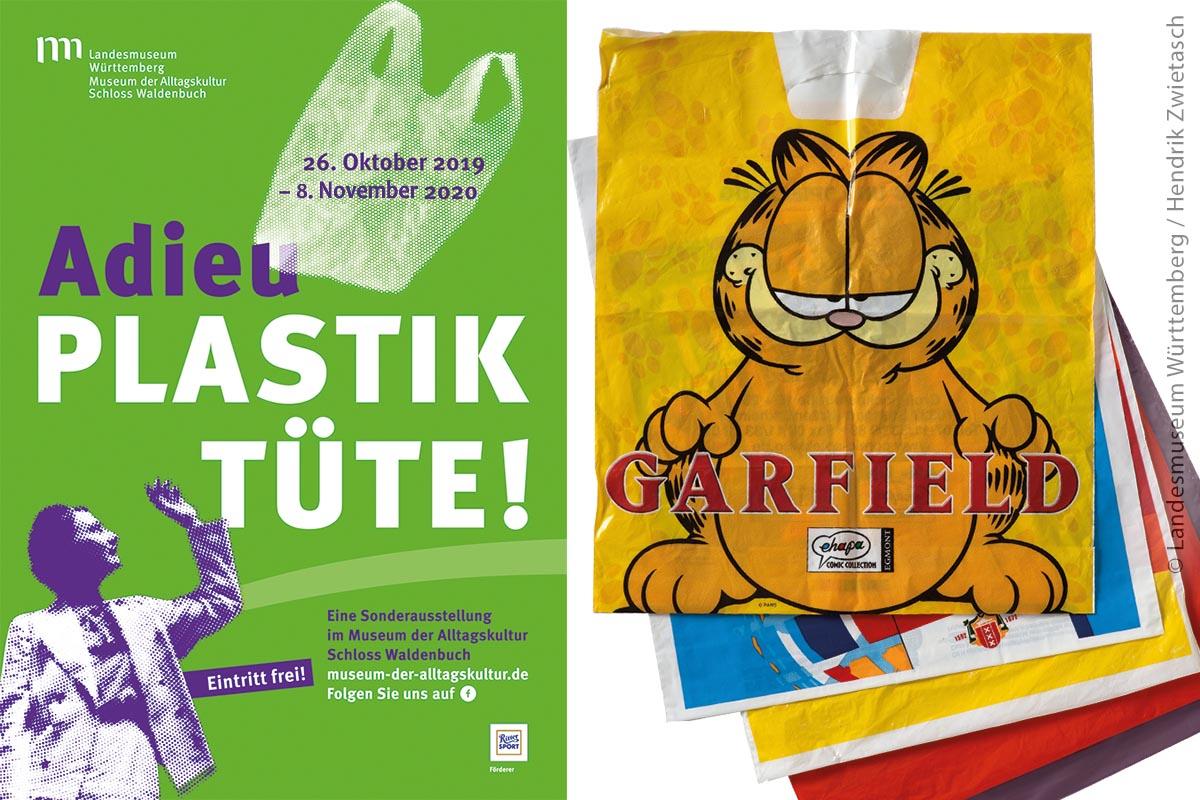 """Links: Das Plakat der Ausstellung """"Adieu Plastiktüte!"""", die erfreulicherweise bis zum 8. November 2020 verlängert wurde. Rechts: Tütenstapel: Garfield gehörte zu einem der beliebtesten Tütenmotive."""
