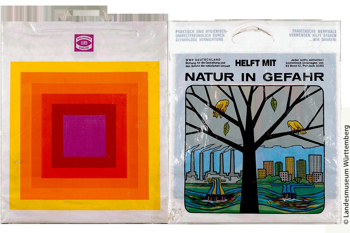 """Links: Die erste Sammlertüte: Mit dieser Plastiktüte begann Mathias Kotz Plastiktüten zu sammeln. Sein Kunstlehrer hatte ein Exemplar in den Unterricht mitgebracht und anhand der Grafik moderne Kunst besprochen. Jetzt war bei ihm die Begeisterung für Plastiktüten geweckt. Rechts: Einkaufstüte """"Tengelmann / Natur in Gefahr"""" – Der World Wildlife Fund (WWF) setzte seinen Aufruf genau dorthin, wo er gebraucht wurde: auf die Plastiktüte. Dabei blieb nicht außen vor, dass Plastiktüten umweltfreundlich sind und Mehrfachverwendung der richtige Weg sein kann."""