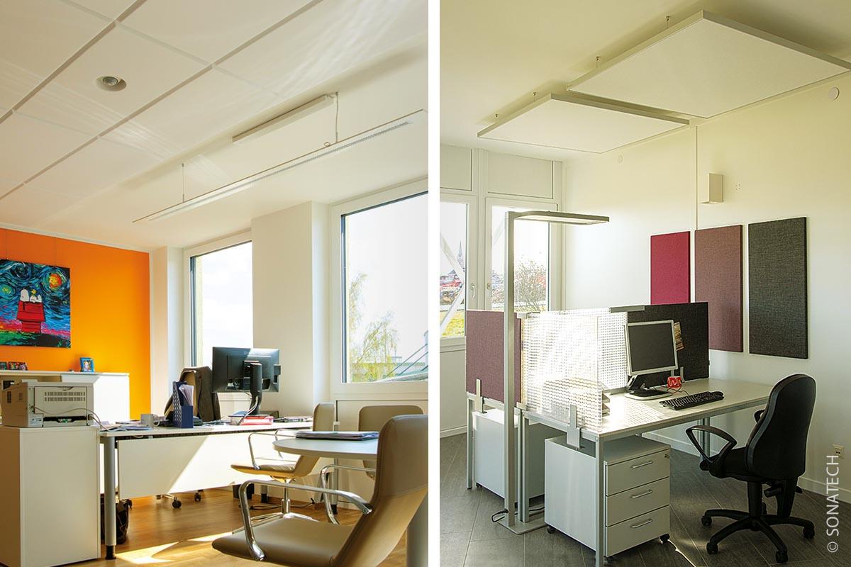 Spezielle Büroinstallationen dämpfen Geräusche: Deckensegel von Quiet-Line (rechts) kombiniert mit Concept-Line-Wandelementen und Tischabtrennungen; links: Weichschaumstoff-Verklebung an der Decke.