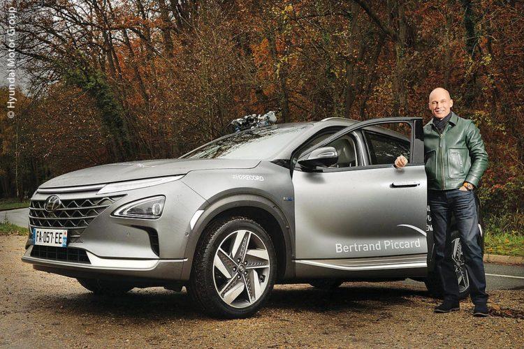 Ohne schädliche Emissionen fuhr Bertrand Piccard die Rekordstrecke mit dem Hyundai Nexo.