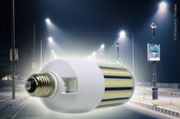 Die LED-Mini-Corn-Bulb-Leuchtmittel besitzen DCOB-AC-Technik und einen DIP-Schalter, mit dessen Hilfe sich ein nutzungsabhängiges Dimmprofil (Halbnachtschaltung) einstellen und so der Energieverbrauch in der Nacht noch weiter reduzieren lässt.