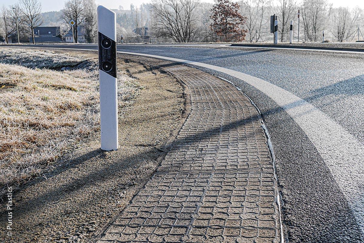 Besonders im Winter werden  durch Ecoraster verstärkte Bankette besser vor Frostschäden geschützt.
