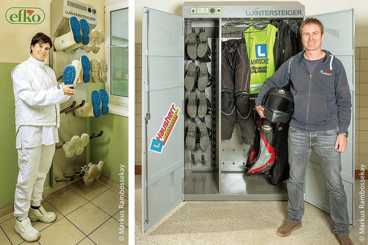 Bei Efko werden Arbeitsschuhe und Gummistiefel mit Trocknungspanelen von Wintersteiger getrocknet (links). Die Fahrschule Hausherr hat einen Combi 1300 für die Trocknung der Motorradausrüstungen angeschafft (rechts).