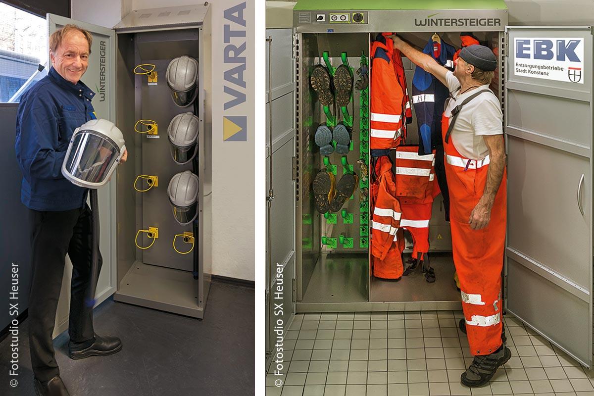 Bei Varta setzt man auf einen Trocknungsschrank in Sonderausführung für Gebläsehelme (links). Der Trocknungsschrank Combi Eco, den die Entsorgungsbetriebe in Konstanz nutzen (rechts), bietet Platz für acht komplette Ausrüstungen.