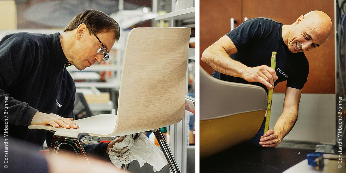 Links: Bei Brunner verlassen nur sorgfältig verarbeitete Objektmöbel in einwandfreier Optik das Werk. Rechts: Mit dem Konzept einer Manufaktur agiert die Brunner GmbH seit 1977 mit 540 Mitarbeitern.