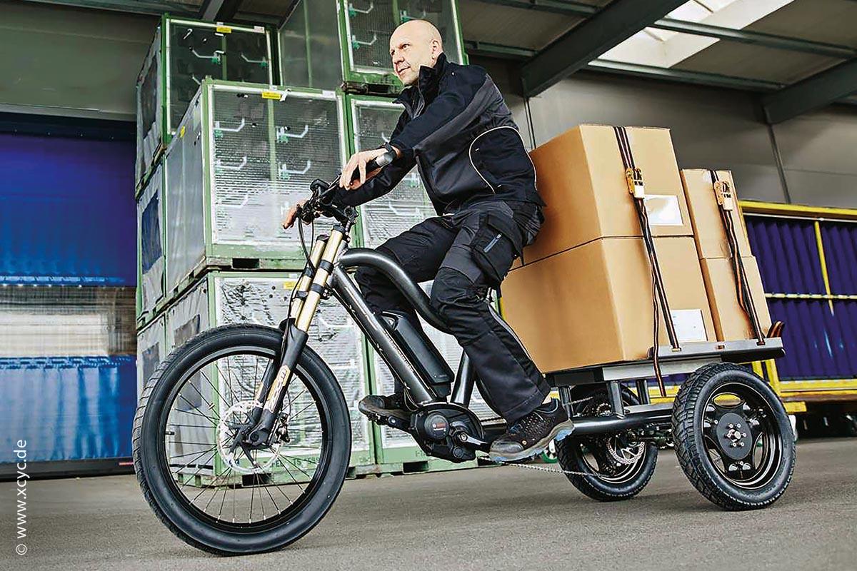 Das robuste, schwere Pickup-Work-Lastenrad 2.0 2020 hat durch seine drei Räder einen sicheren Stand.
