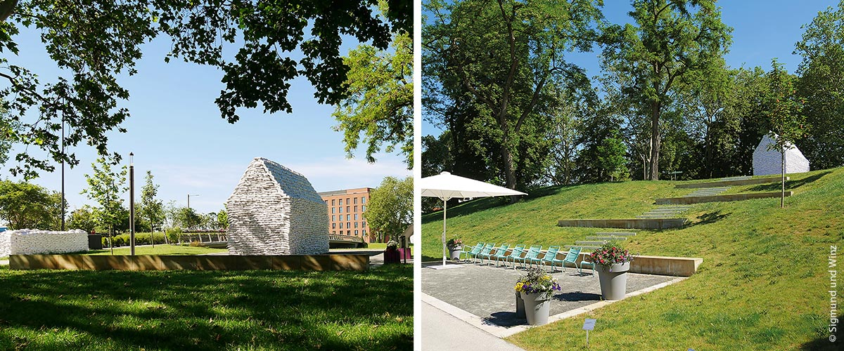 Friedhofsbeitrag von Künstlerehepaar Bräg aus München und Siegmund und Winz auf der letztjährigen Bundesgartenschau Heilbronn