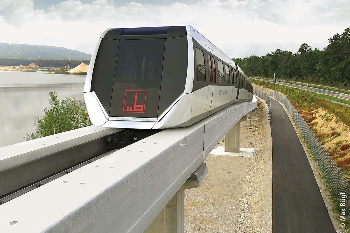 Ein Shuttle des Transport System Bögl unterwegs auf der Teststrecke am Hauptsitz in Sengenthal