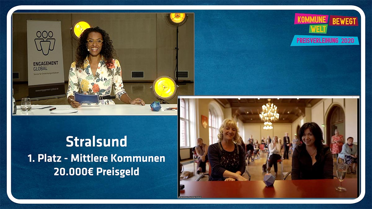 Den 1. Preis innerhalb der mittleren Kommunen mit 20.000 bis 100.000 Einwohnern erhielt Stralsund in Mecklenburg-Vorpommern.