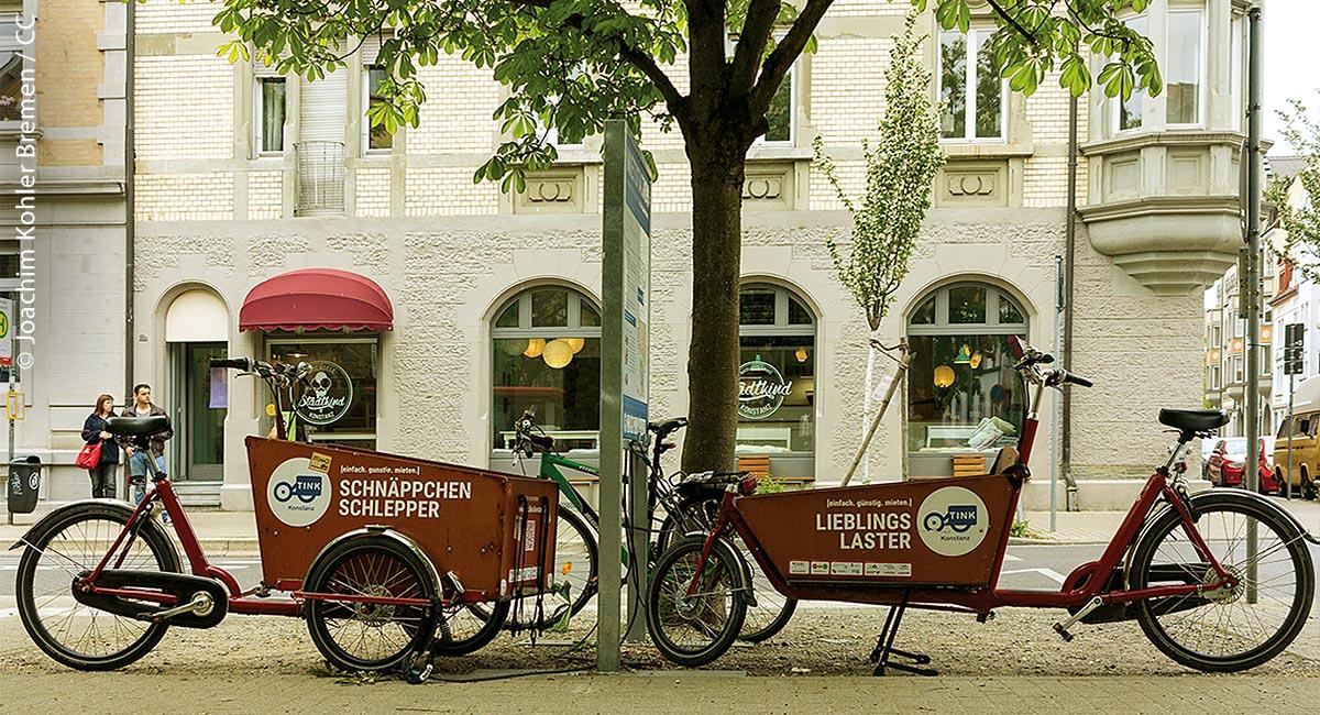 """Ob """"Schnäppchen-Schlepper"""" oder """"Lieblings-Laster"""" – auch in Konstanz gibt es mittlerweile die Möglichkeit, sich ein Lastenrad auszuleihen. Zum Beispiel bei TINK."""