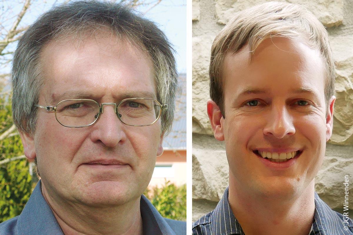Franz Stagel (links), Ansprechpartner des Jugendgemein- derats im Hauptamt, und Manuel Schulz (rechts), Stadtjugendreferent, der Stadt Winnenden beraten den Jugend- gemeinderat