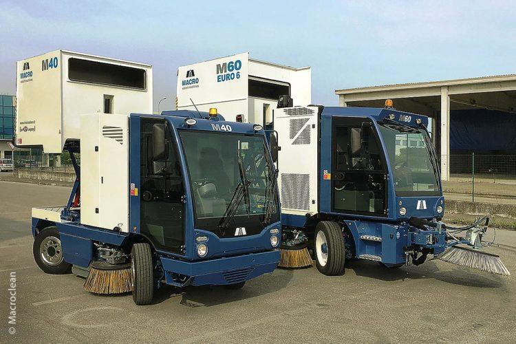 Bei Macro Clean M40 und M60 plus handelt es sich um mechanische Straßenkehrmaschinen mit einem Vier- oder Sechs-Kubikmeter-Behälter. Zum Kehren und Reinigen wird kein Wasser benötigt, dies spart Geld und schont Wasserreserven.