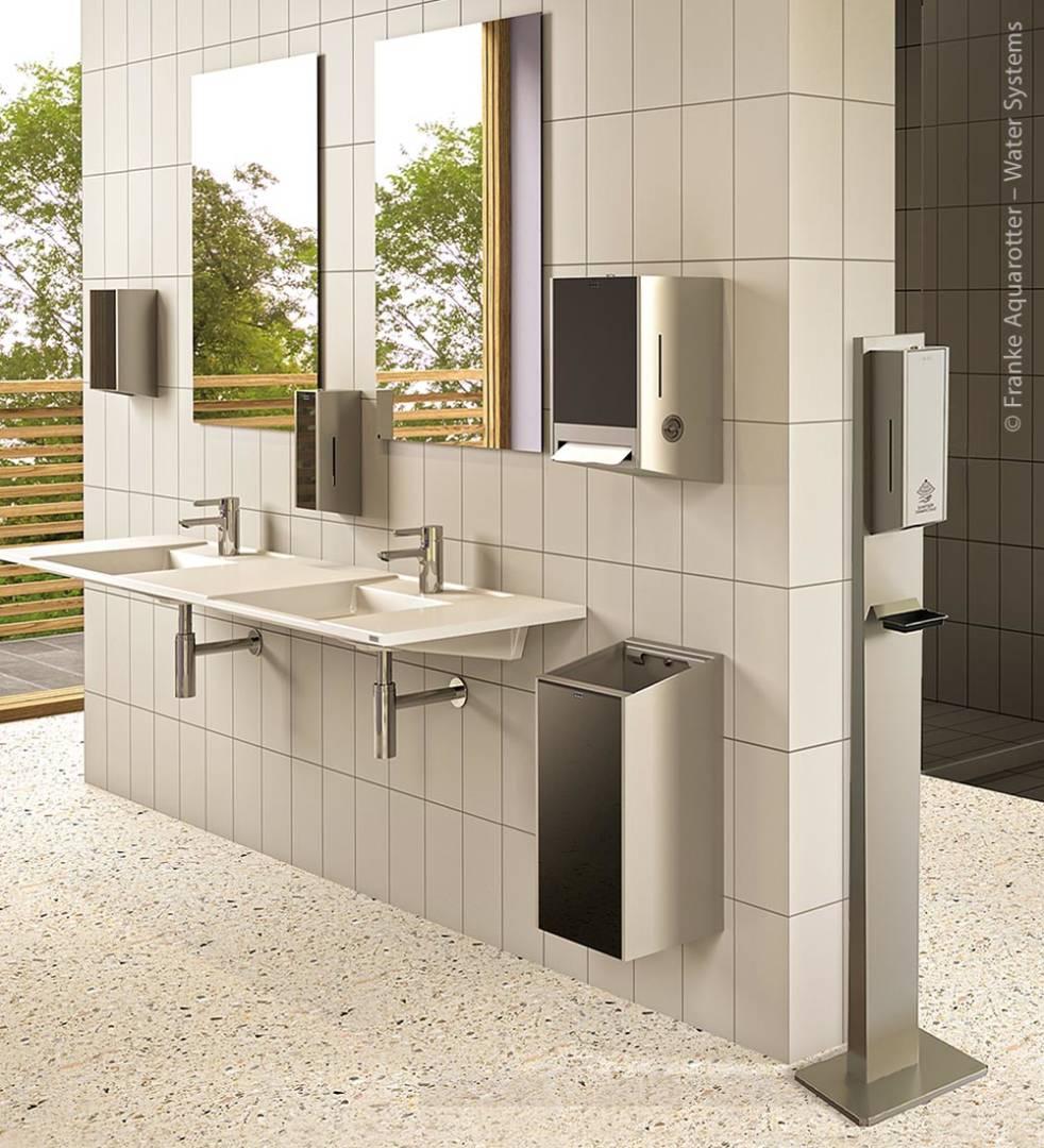 Mit der flexiblen Desinfektionsmöglichkeit der Hände nach dem Waschen, unabhängig von der installierten Armaturentechnologie sorgen Betreiber für die optimale Handhygiene ihrer Kunden, Gäste oder Mitarbeiter.