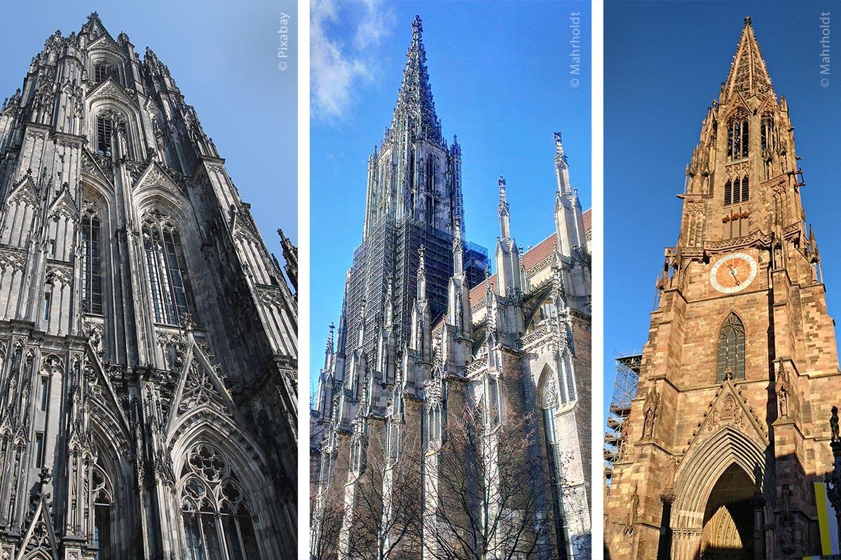 Auch die Bauhütten von Kölner Dom, Ulmer und Freiburger Münster (von links nach rechts) wurden von der UNESCO gewürdigt.