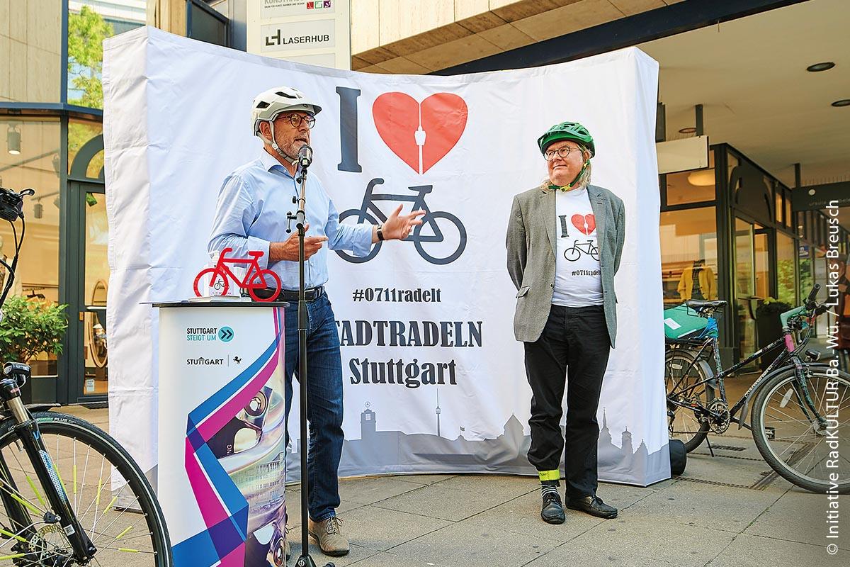 Verkehrsminister Winfried Hermann eröffnete in Stuttgart den Stadtradel-Wettbewerb  am 7. September 2020.