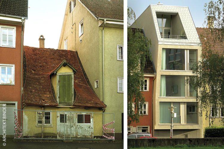 """Das neue Gebäude """"die Spalte"""" nutzt die kleine Grundfläche optimal: Bis ins Jahr 2015 stand dort noch das kleinste Gebäude der Stadt Tuttlingen (links)."""