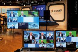 """Mit Hilfe modernster und umfangreicher Videotechnik wurde die Online-Messe """"BAU 2021"""" in kurzer Zeit auf die Beine gestellt."""