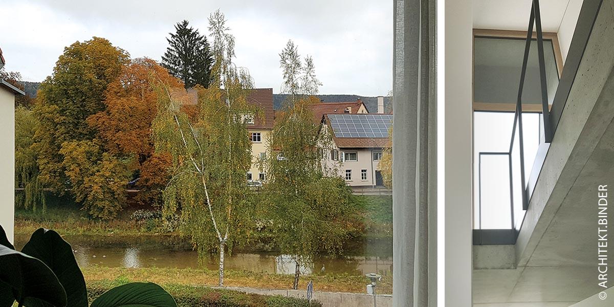 """Blick auf die Donau über ein Panoramafenster (links). Treppenhaus (rechts): Das Tuttlinger Haus """"die Spalte""""  ist aus statischen Gründen als Stahlbetongebäude errichtet und ermöglicht damit große Glasfronten auf zwei Seiten."""
