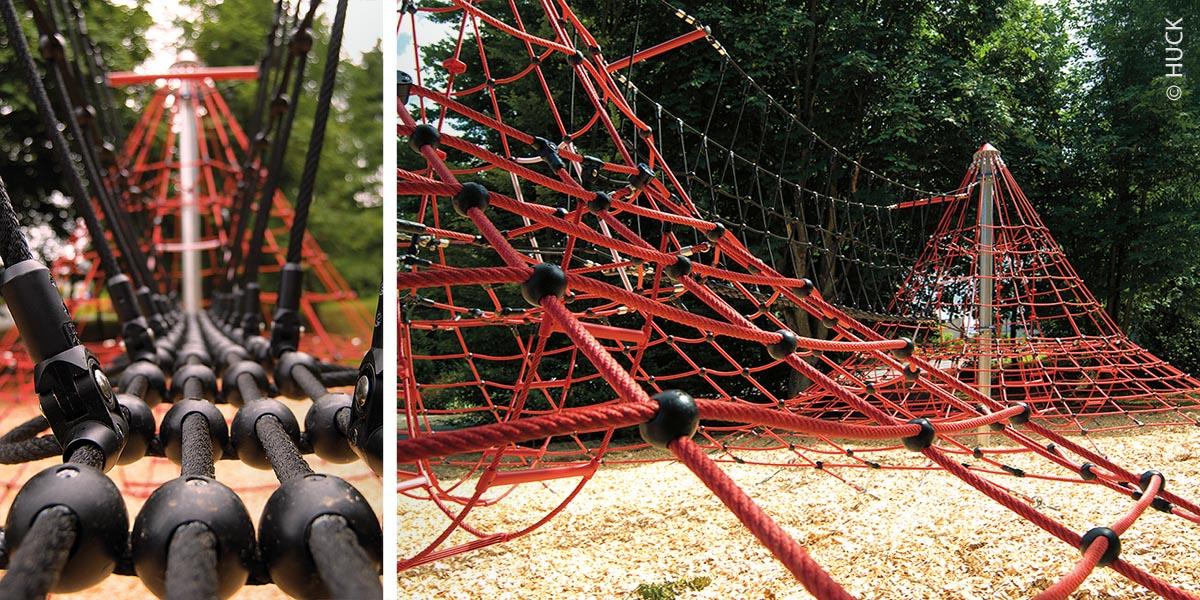 Für das ganz große Kletterabenteuer auf großen Spielplätzen: Durch ein sicher begehbares Verbindungsstück aus geknüpften Seilnetzen lassen sich zwei Seilnetzpyramiden auch miteinander verbinden.