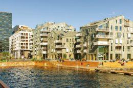 Neue Wohnhäuser am Wasser: Die ungewöhnlichen Bauten befinden sich im Bispevika-Gebiet von Oslo.