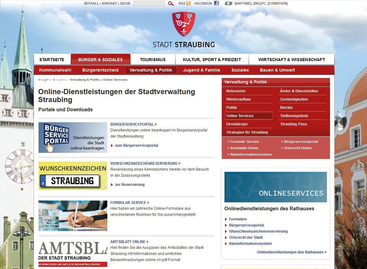 Webseite von Straubing
