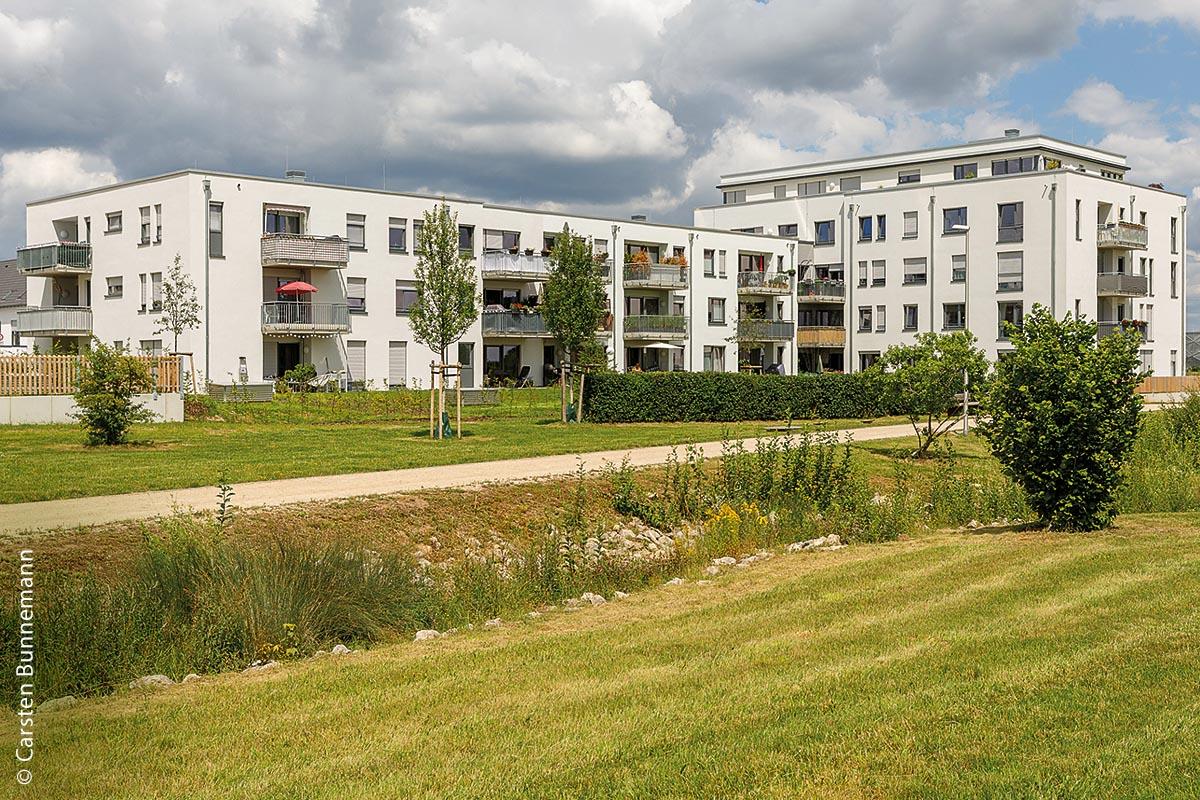 """In Herzogenaurach, der Stadt von Adidas und Puma, wurden im Entwicklungsgebiet """"Herzo Base"""" 129 Wohnungen fertiggestellt, als Mischung von öffentlich-geförderten und preisgebundenen Einheiten."""