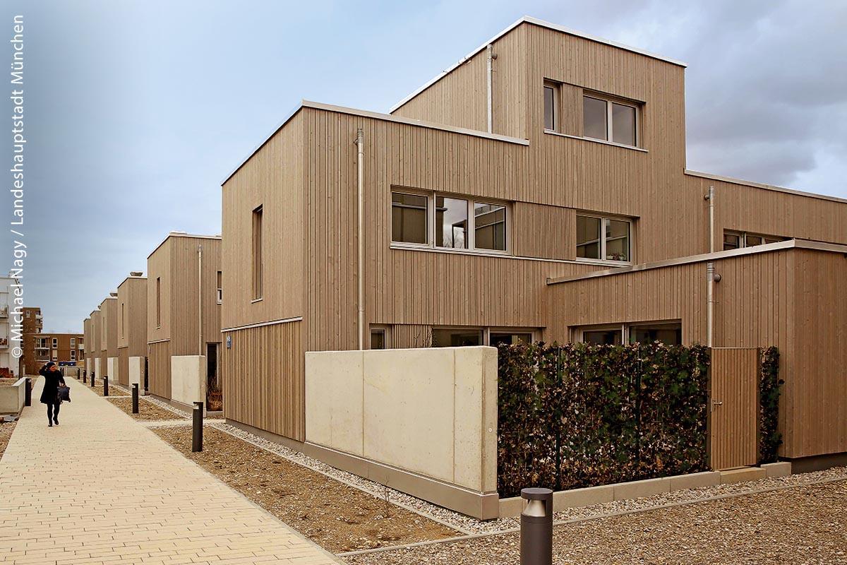 Das neue Gebäudeensemble ist Teilprojekt der ökologischen Mustersiedlung im Prinz-Eugen-Park.