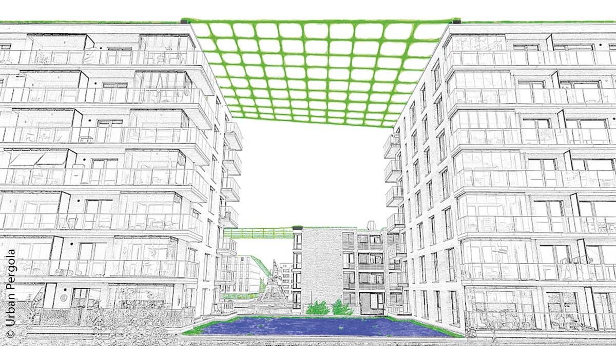Flexibel einsetzbare Pflanzennetze können an einem oder zwischen mehreren Gebäuden angebracht werden.
