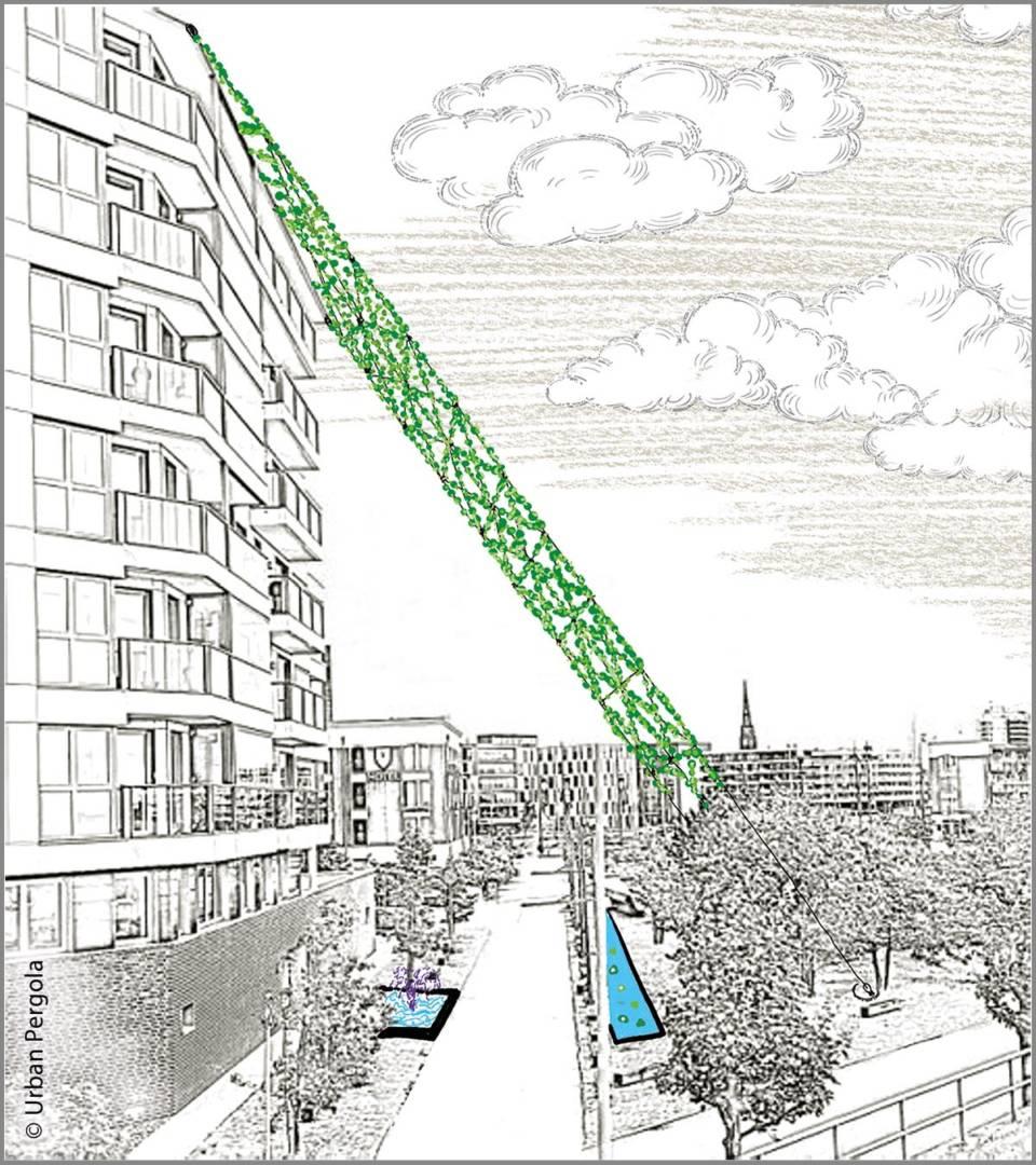 Pflanzennetze und Wasserflächen sorgen für mehr Kühle zwischen städtischen Gebäuden.