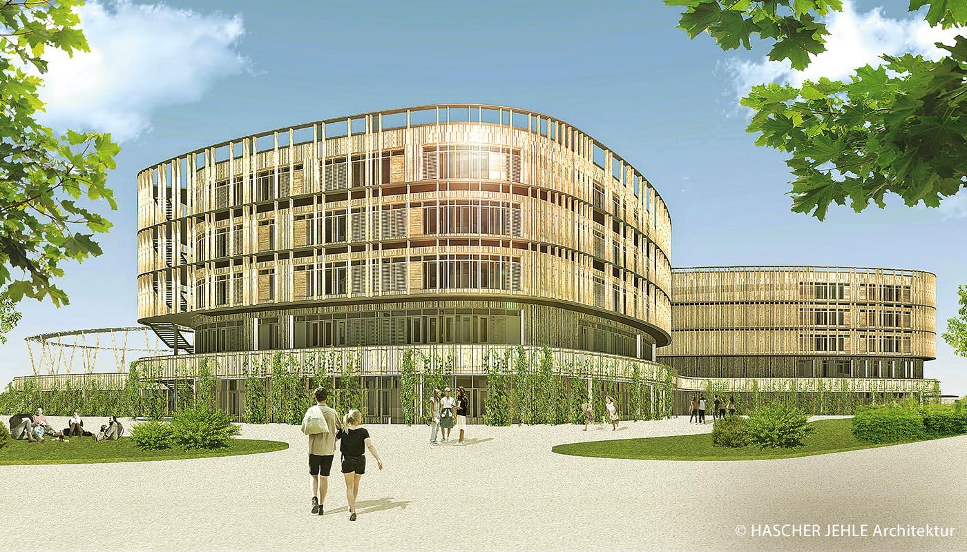 In der Nähe der rund zwei Kilometer entfernten Mustersiedlung im Prinz-Eugen-Park wird das Wilhelm-Hausenstein-Gymnasium in der Fideliostraße im Stadtbezirk Bogenhausen neu gebaut. Die Baumaßnahmen beginnen noch im ersten Quartal in diesem Jahr.